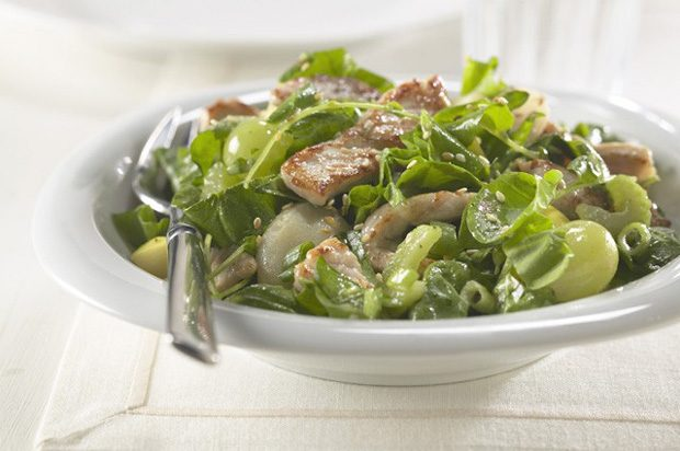 Warm Pork Spinach Salad